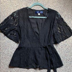 Francesca's black wrap lace top size small